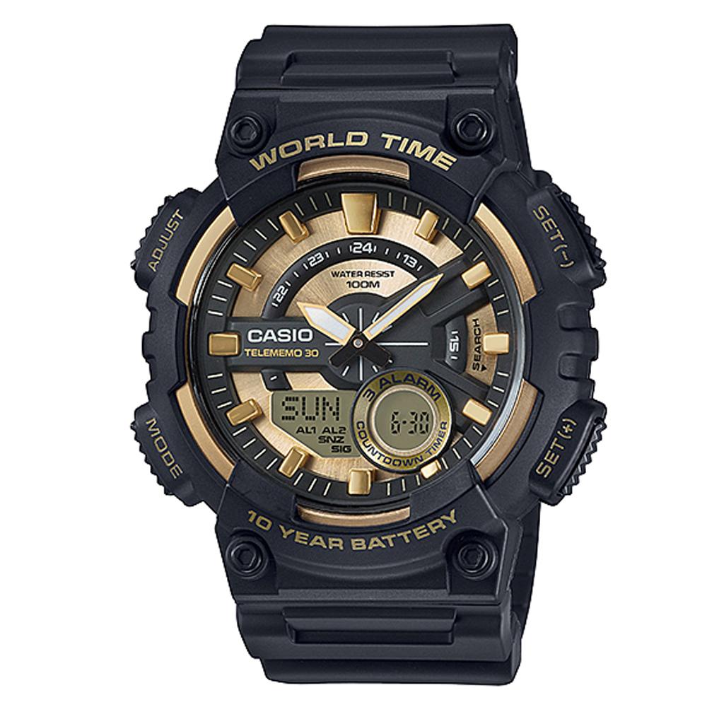 CASIO 悍將世界城市玩家雙顯運動錶(AEQ-110BW-9A)-黑X金面/46.6mm