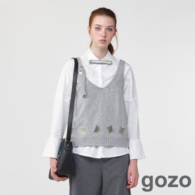 gozo文青視角針織背心罩衫 (二色)-動態show