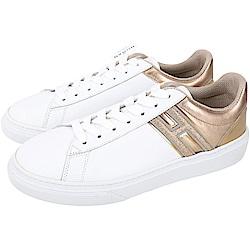 HOGAN H340 金色細節拼接繫帶都市滑板鞋(白色)