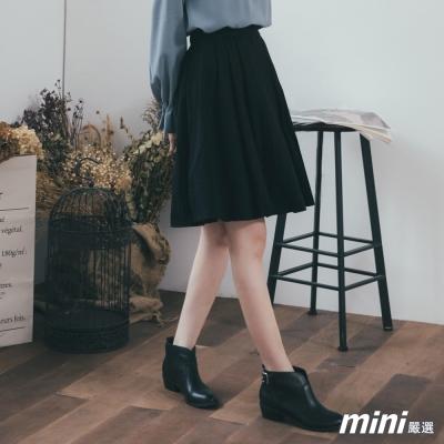 絨面後鬆緊腰及膝裙 二色-mini嚴選