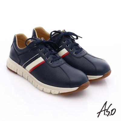 A.S.O 輕量抗震 真皮條紋配色活力休閒鞋 藍