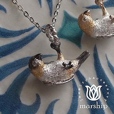 Marship 日本銀飾品牌 鸚鵡項鍊 單腳垂墜款 925純銀 K金X亮銀X黑嘴款