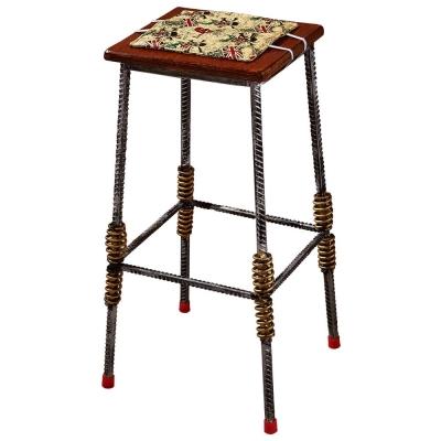 AT HOME - 伍德鋼筋木面吧台椅(附布座墊) 40x40x76cm