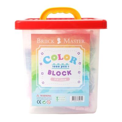 Briick Master 積木大師 紅蓋積木桶1000片 粉系五色