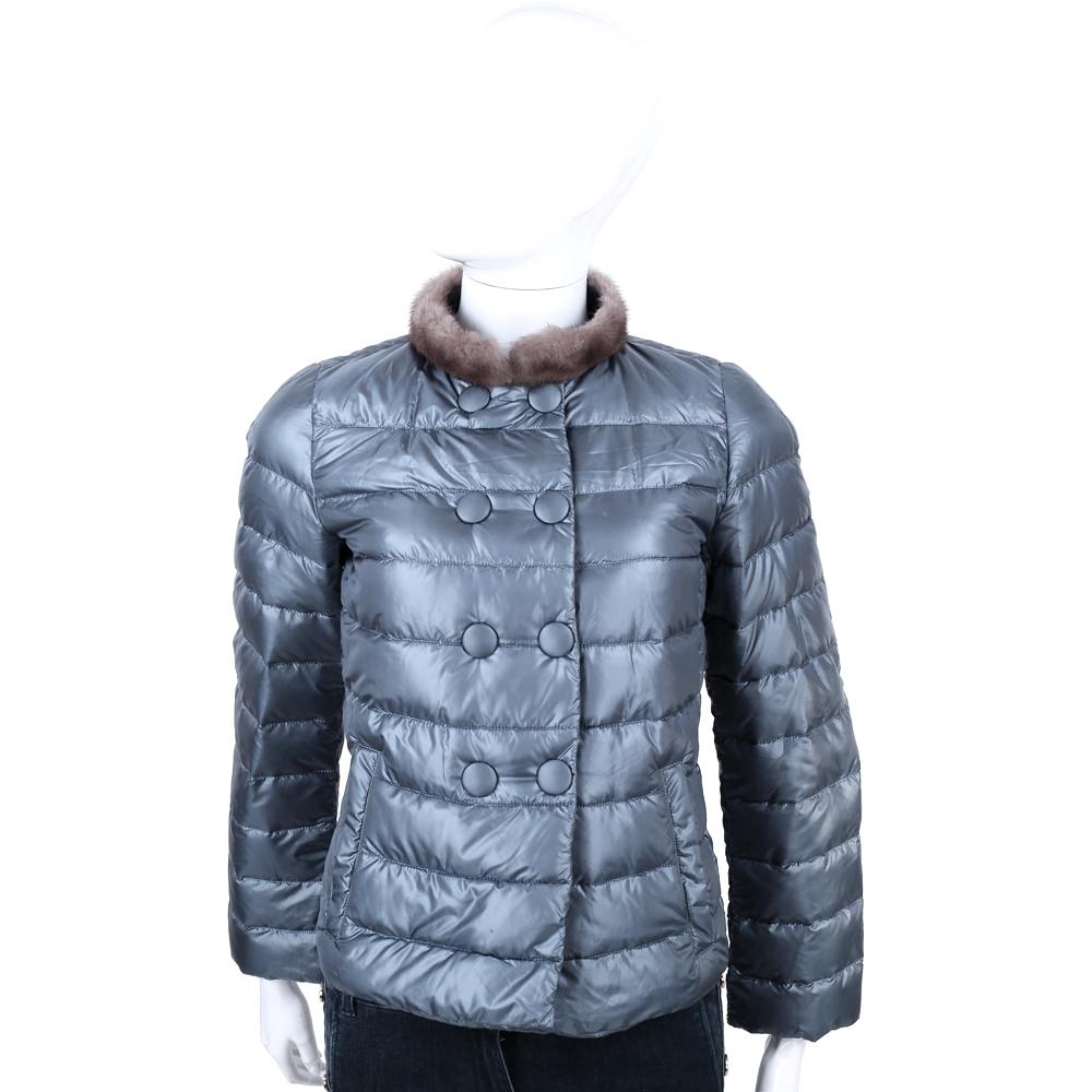 MARELLA 灰藍色車縫設計羽絨外套(毛領可拆)
