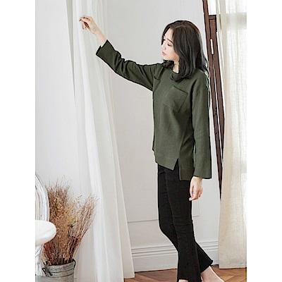 高含棉立體紋理前短後長雙口袋寬鬆上衣-OB嚴選