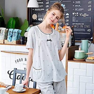 睡衣 海軍風蕾絲條紋短袖兩件式睡衣(R77027-6灰條紋) 蕾妮塔塔