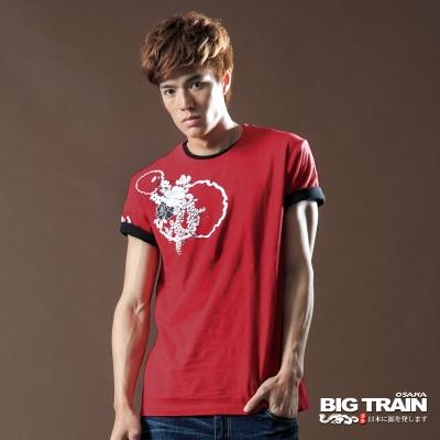BIG TRAIN-雙獅和風圓領T-紅