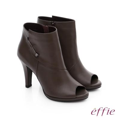 effie 保暖靴 真皮異材質拼接魚口高跟踝靴 深卡其色