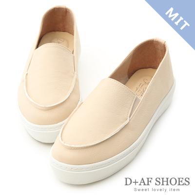 D+AF 輕快步伐.MIT立體縫線厚底懶人鞋*米