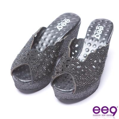 ee9 青春年華鐳射鏤空鑲嵌水鑽露趾楔型跟拖鞋-黑色