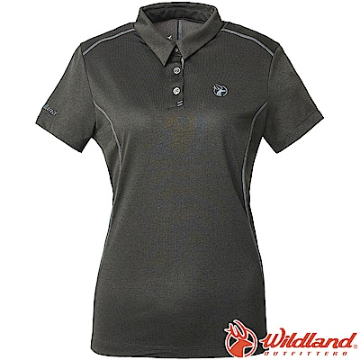 Wildland 荒野 0A61629-95鐵灰色 女雙色POLO領排汗上衣