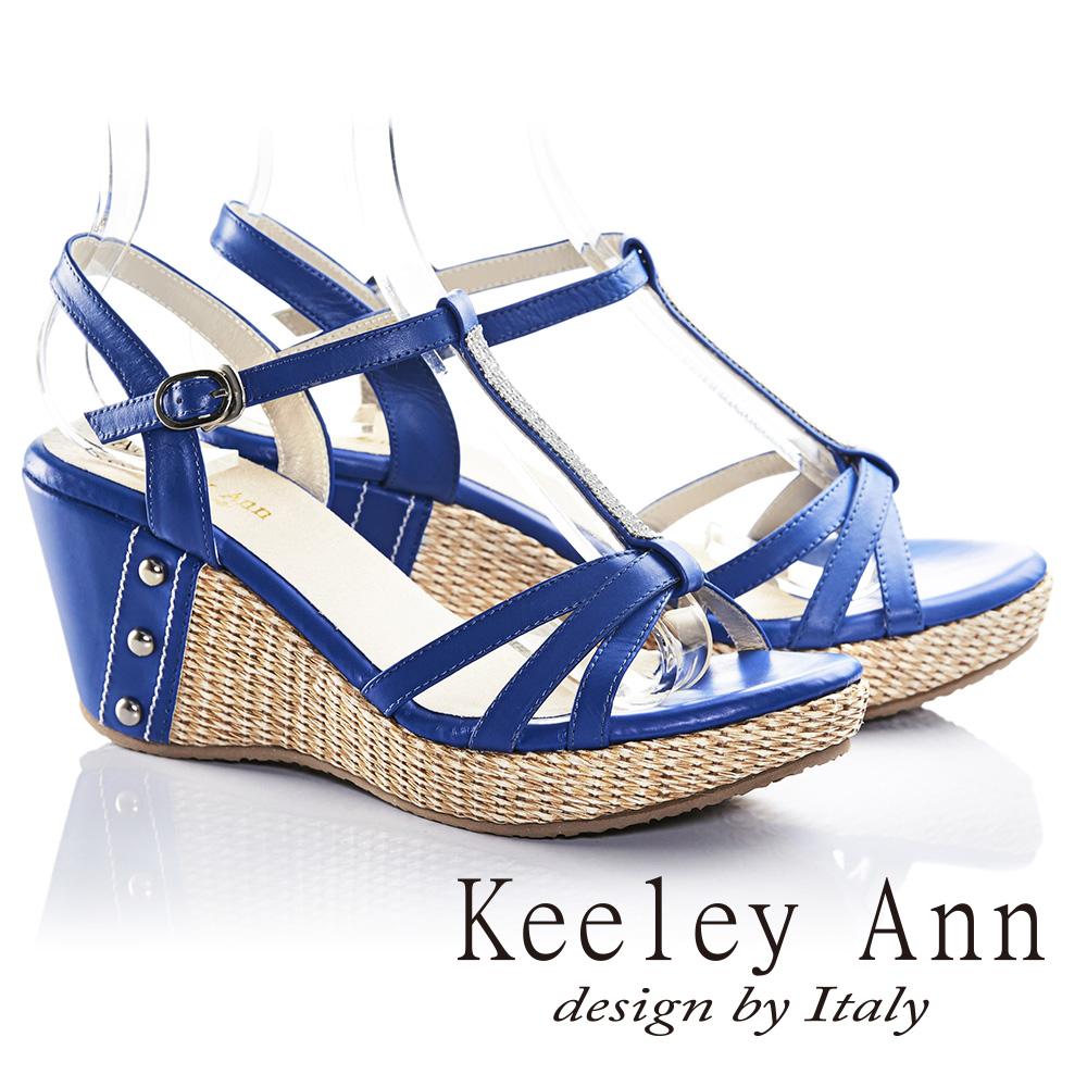 Keeley Ann渡假趣滿鑽鉚釘藤編真皮楔形涼鞋(藍色)