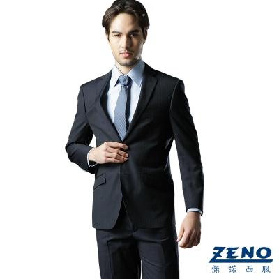 ZENO 絲光精緻毛料西裝外套‧藍光直紋46~52