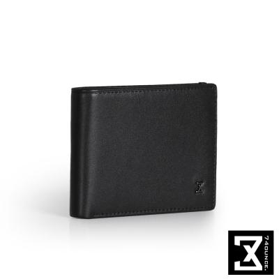 74盎司 Plain 真皮橫式短夾(小)[N-500]黑