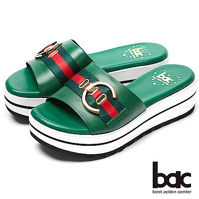bac經典時尚-搶眼裝飾厚底台拖鞋-綠色