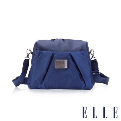ELLE 法式優雅時尚風貌百褶休閒側背包淑媛設計款 搭配質感頭層皮-寶藍