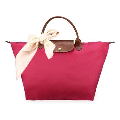 Longchamp 折疊中型水餃包(短提把/桃紅)-加贈帕巾
