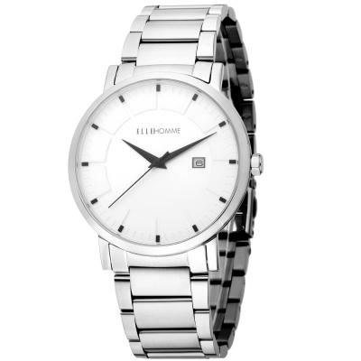 ELLE 都會風無時標不鏽鋼鍊錶-銀-42mm