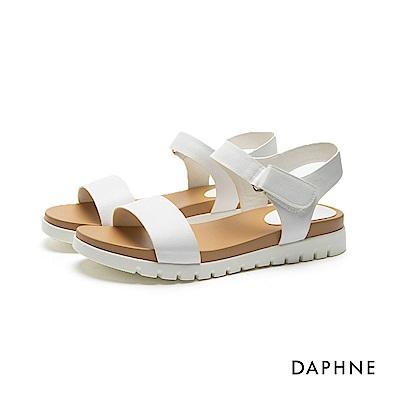 達芙妮DAPHNE 涼鞋-鋸齒鞋底魔鬼氈一字平底涼鞋-白