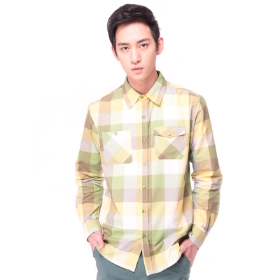 【hilltop山頂鳥】男款COOLTECH吸濕排汗抗UV長袖襯衫S05M57綠格紋