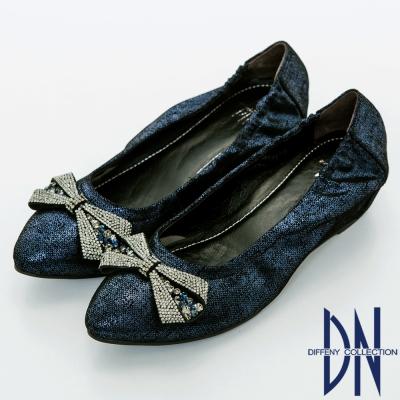 DN 優雅名媛 浪漫蝴蝶結鑽飾尖頭內增高鞋-藍