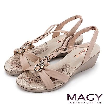 MAGY 夏日甜心 圓形鑽飾麻編牛皮涼鞋-粉紅