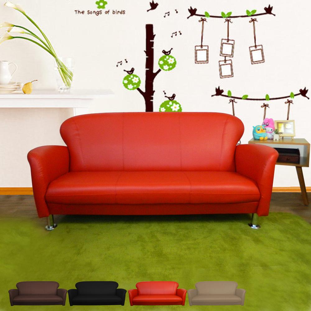時尚屋 摩登日式三人座5.5尺鐵腳沙發 多色可選 寬165cm-免組