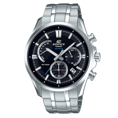 EDIFICE經典三眼三針藍寶石鏡面計時腕錶(EFB-550D-1A)-黑/43.5mm