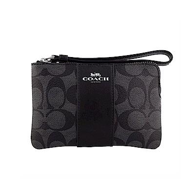 COACH-LOGO馬車布面皮革系列拉鍊手拿包-黑