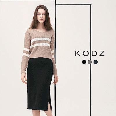 東京著衣-KODZ歐美爆款顯瘦條紋設計多色針織套裝-S.M.L(共三色)