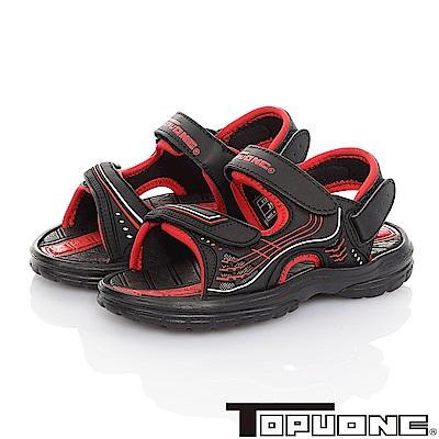 TOPUONE 輕量減壓吸震運動休閒涼鞋童鞋-黑紅