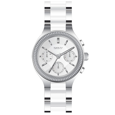DKNY 精緻雅典娜三眼時尚腕錶-銀x雙材質錶帶/37mm