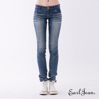 Earl Jean 蜜桃肌貓鬚中低腰合身窄管褲-中藍-女