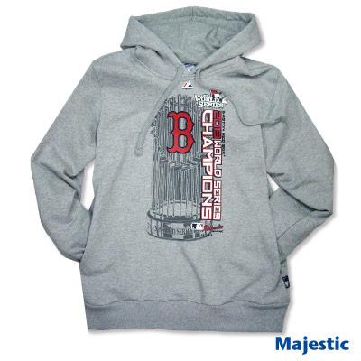 Majestic-波士頓紅襪隊世界大賽冠軍連帽厚T-麻灰