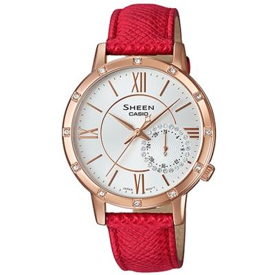 SHEEN華洛世奇水晶經典簡約三眼腕錶(SHE-3046GLP-7B)紅X金框34mm