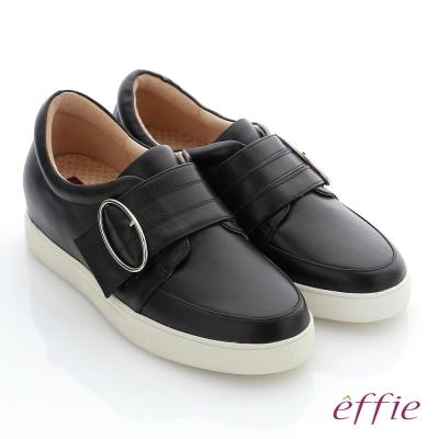 effie 彈力舒芙 真皮魔鬼氈奈米機能休閒鞋 黑色