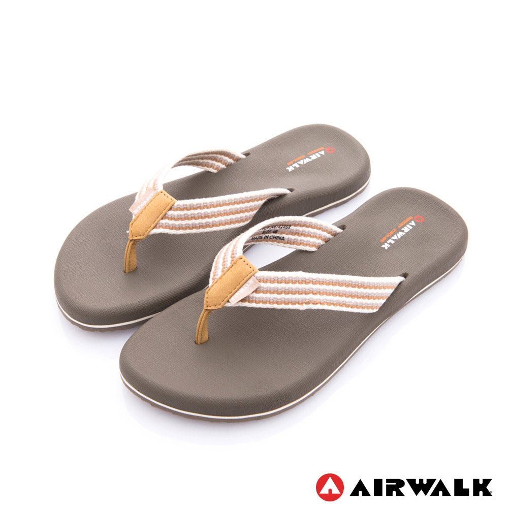 【AIRWALK】柔軟輕量夾腳人字拖鞋 女款-卡其