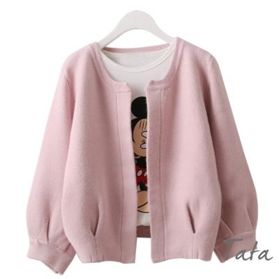 九分袖短版開衫針織外套-共三色-TATA