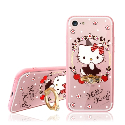 Hello Kitty貓 iPhone 8/iPhone 7 指環扣支架手機殼(...
