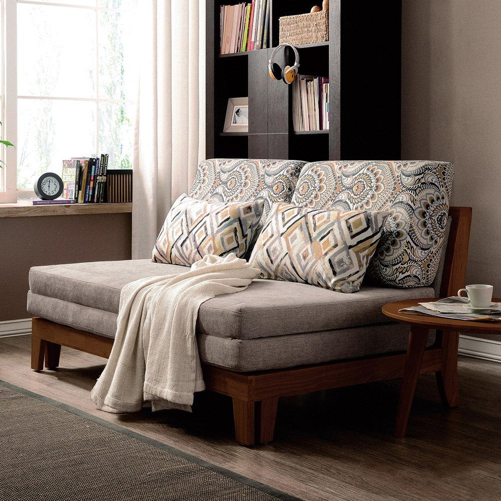 Boden-倫特灰色實木布沙發床/雙人椅/二人座(送抱枕)