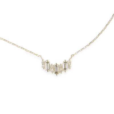 JewCas Carre系列10K金鑽石項鍊