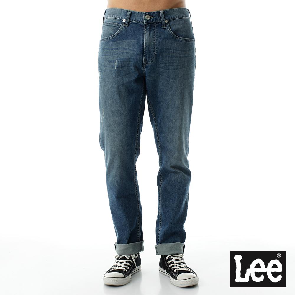 Lee 牛仔褲 735中腰舒適小直筒牛仔褲/DC 男 中深藍色