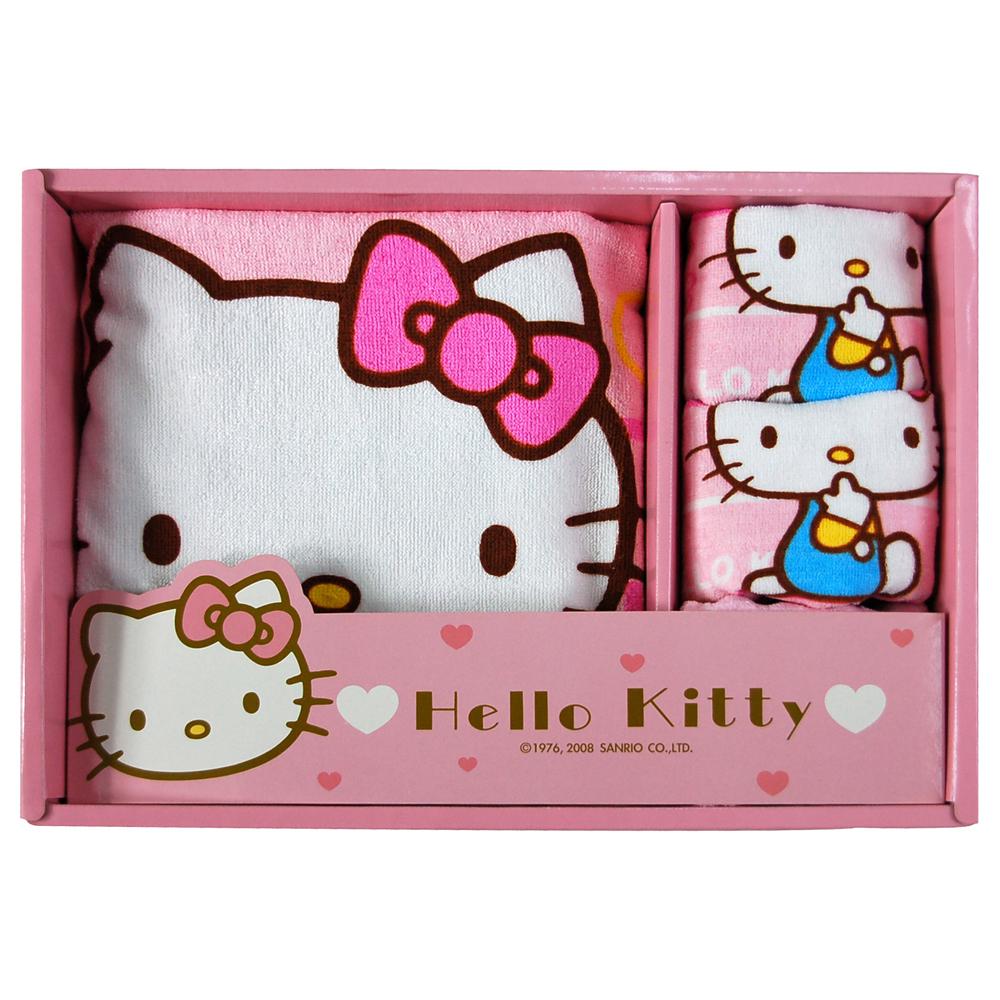 Sanrio三麗鷗授權Hello Kitty凱蒂貓系列-凱蒂貓橫條紋禮盒(小浴巾+3童巾)