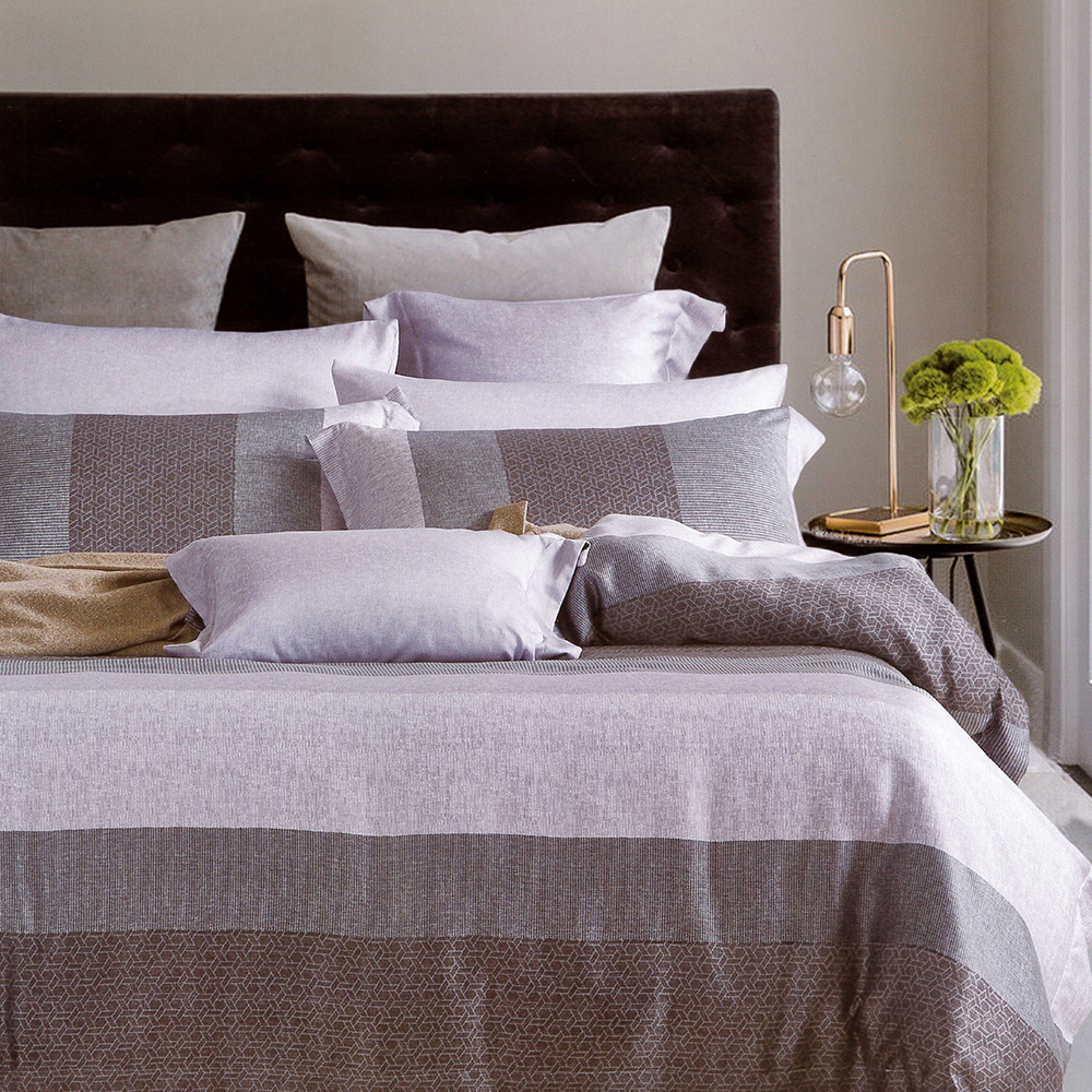 Lily Royal 天絲 特大-六件式兩用被床罩組 麻趣布洛(灰)