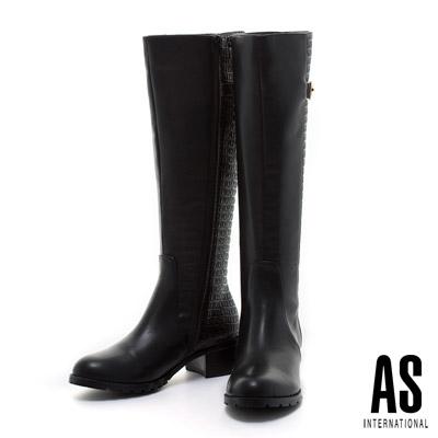 AS-異材質拼接金屬釦環帥氣時尚粗跟長靴-黑