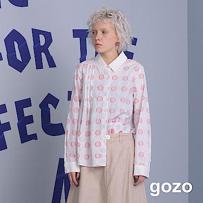 gozo 英倫復古立體毛邊波卡點點襯衫 (二色)