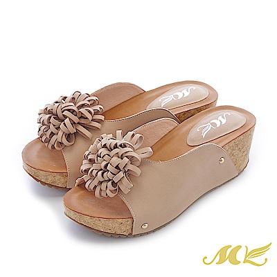 MK-真皮手作-大花朵U形厚底楔型跟拖鞋-杏色