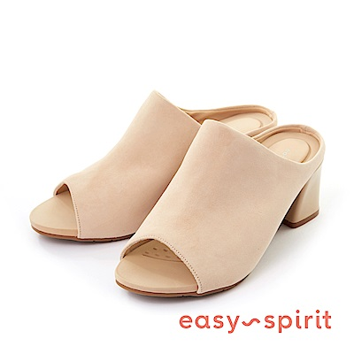 Easy Spirit--魚口粗高跟涼拖鞋-質感膚