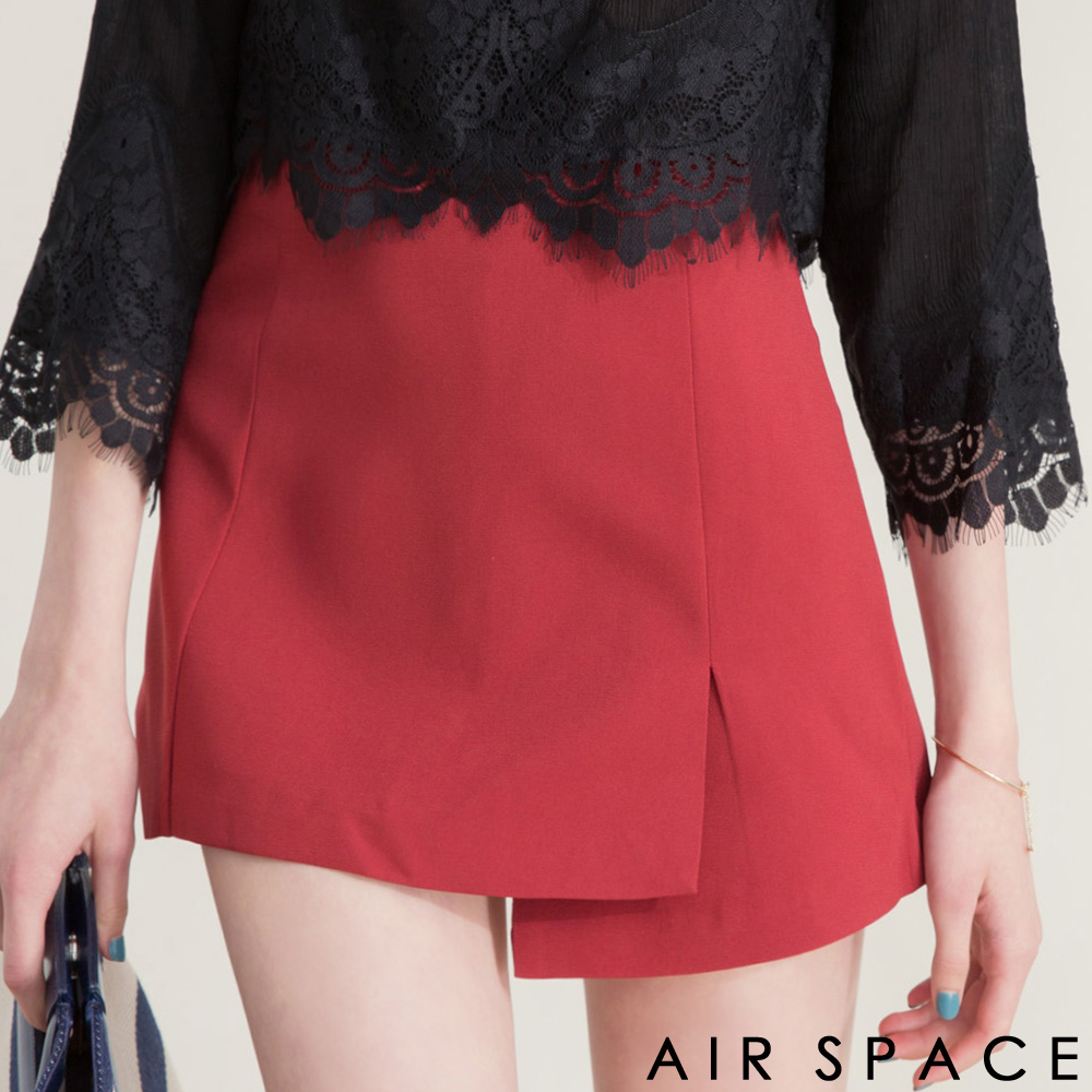 AIR SPACE不對稱裙襬剪裁雪紡短裙酒紅